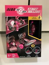 Pink - New Neon Pop N Lock Street Rollers with Led wheels and adjustable straps