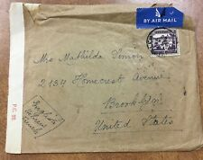{BJ STAMPS} PALESTINE 1942 CENSORED AIRMAIL cover Jerusalem to Brooklyn 200m