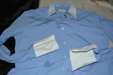 $550 Brioni Cotton Blue Dress White Collar Shirt 15.75 34 ITALY