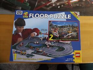 Rose Art 50 Piece 2 In One Floor Puzzle LEGO System Race Play System 2x3 Feet