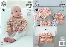 "King Cole DK  Knitting Pattern 4813: Cardigan &Sweaters,12""-20"""