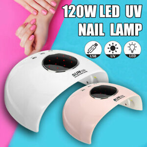 120W LED Nail Dryer UV Lamp Gel Nail Polish Fast Curing Light Timer Sensor Salon