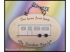 STATIC CARAVAN Plaque Sign OUR HOME FROM HOME - Personalised Name - Mobile Home
