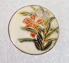"ANTIQUE Japanese Satsuma Button 3/4"" Diameter Flowers Showa 1920 Marked A"