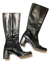 Womens Nine West 6M Black Boots Side Zip Leather