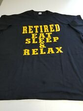 Retired Eat Sleep Relax 3XL Black Gold Short Sleeve T-shirt  New Without Tags