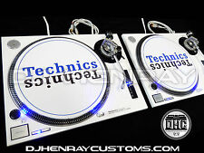 2 custom white powder coated Technics SL1200 mk2 with blue leds dj turntables