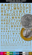 """Waterslide Decals USAAF Gold Letters 2""""x3"""" Decal Sheet +9 Other Colors"""
