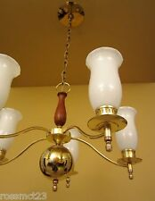 Vintage Lighting Mid Century brass walnut chandelier by Moe