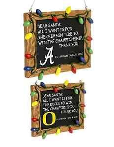 NCAA College Team Logo Resin Chalkboard Sign Christmas Tree Ornament - Pick Team