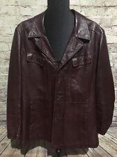 Vintage 70s Hipster Hollywood  Leather Sports Coat Jacket Mod Suit Dress EUC