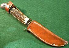 """Old Vintage OLSEN KNIFE CO. SOLINGEN GERMANY Stag Handle 270C 5"""" BUFFALO SKINNER"""