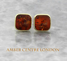 Italian Made Classic Baltic Amber Square Studs In 9ct Gold RRP£160!!! GS0093