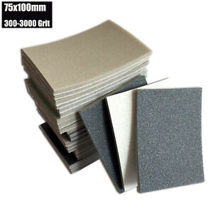 75x100mm Mixed Sponge Sandpaper Wet and Dry 300-3000 Grit Sheets Assorted Wood