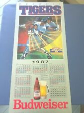 1987 Large 36 Inch Budweiser Detroit Tigers Schedule Poster