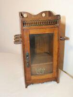 antique handmade wood brass 1800's Victorian pipe holder smoking cabinet stand