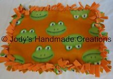 HANDMADE MINI BABY / PET FLEECE TIED SECURITY BLANKET -SMILEY FROG FACE 9 X 13