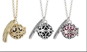 Guardian Angel Soundball Necklace - Silver Pendant Black Twinkle Bell Ball UK