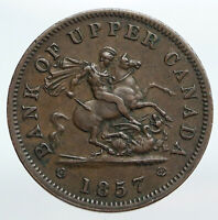 1857 UPPER CANADA Antique UK Queen Victoria Time PENNY BANK TOKEN Coin i90257