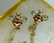 Bee brooches 2 orange red crystal collar shawl cardigan vintage style pins