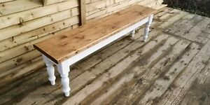 benches farmhouse rustic plank  reclaimed pine tops 5 foot choice of colours