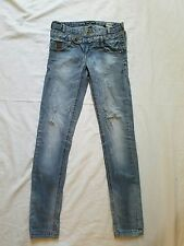 Women's ONLY Jeans Light Wash Distressed Wear, Double Button, Size 26