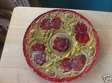 Vintage Gold and Red Pedestal Rose Design Goofus Glass Platter