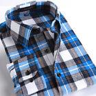 New Luxury Mens Long Sleeve Flannel Plaids Checks Casual Slim Dress Shirts Tops