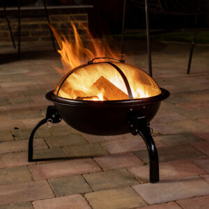 Steel Portable Fire Pit Folding Garden Patio Camping Heater BBQ With Mesh Cover