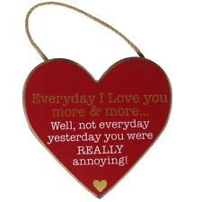 "Rojo MDF Corazón Colgante Placa 'EVERYDAY I LOVE YOU "" San Valentín"