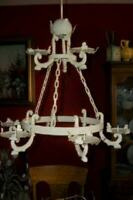 ANTIQUE FRENCH FARMHOUSE IRON CHANDELIER CANDELIER CREAMY CHIPPY RUSTY RARE