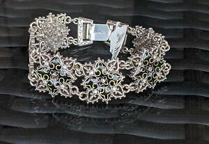 Brighton Paris Cross Celtic Black Silver Gold Resin Retired Bracelet NWT
