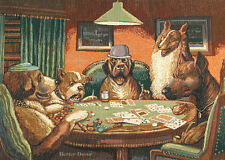WALL WOVEN TAPESTRY Dogs Playing Poker EUROPEAN GAME ROOM DECOR - ANIMAL PICTURE