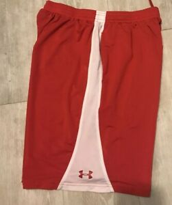 Under Armour heat gear loose Boys size YXL Red - White  shorts.