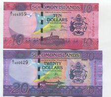 Solomon Islands; Set 2 pcs; 10 20 Dollars 2017 UNC, P-33 34, New design
