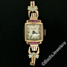 Petite Vintage Ladies 14K Gold Ruby Diamond Winton Bulova Swiss Wrist Watch Head
