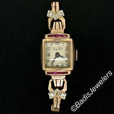 Petite Vintage Ladies 14K Gold Ruby Diamond Winton Bulova Swiss Wrist Watch Head