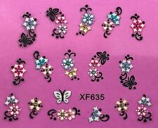 Nail Art 3D Decal Stickers Multicolored Flowers with Rhinestones XF635