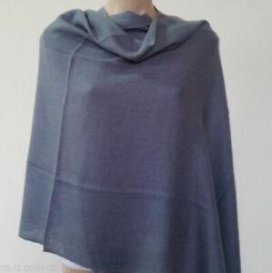 Women's 100% Cashmere Shawls Nepalese Handmade Dark Grey Warm Wool Winter Wrap