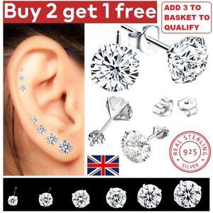 New 925 Sterling Silver Stud Earrings Women Girl Small CZ Crystal Set Backs Pack