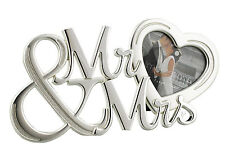Mr & Mrs 2 Tone Silver Plated Freestanding Wedding Photograph Frame