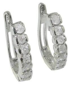 SI1 G 1.10 Carat Genuine Diamond Hoop Earrings Appraisal 14K White Gold Pave Set