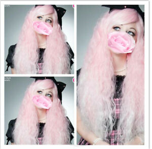 Fashion Long Pink Small Curly Wavy Women Girl Party Cosplay Hair Wig Wigs + Cap