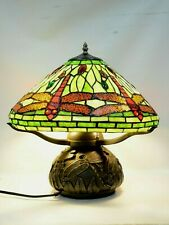 Tiffany Dragonfly W/ antique bronze dragon Fly  Base,  Table Lamp,