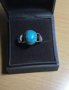 Vintage 925 Silver Statement Turqoise Ring Size R