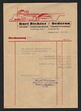 OEDERAN, Rechnung 1939, Fahrschule, Kraftdroschkenbetrieb Kurt Richter