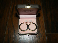 Juicy Couture Earrings Juicy Earrings Black Gold Loop Juicy Earrings New $58