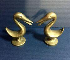 "Vintage ART-DECO Solid Brass Bird Figurines -  Pair 2"" Brass Pelicans 1930's"