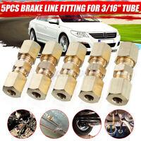 "5x Car Brass Compression Fitting Connector 3/16"" OD Hydraulic Brake Lines Union"