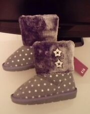 New Girls Grey/Silver Suede Boots with Star Pattern Size 9 Infant